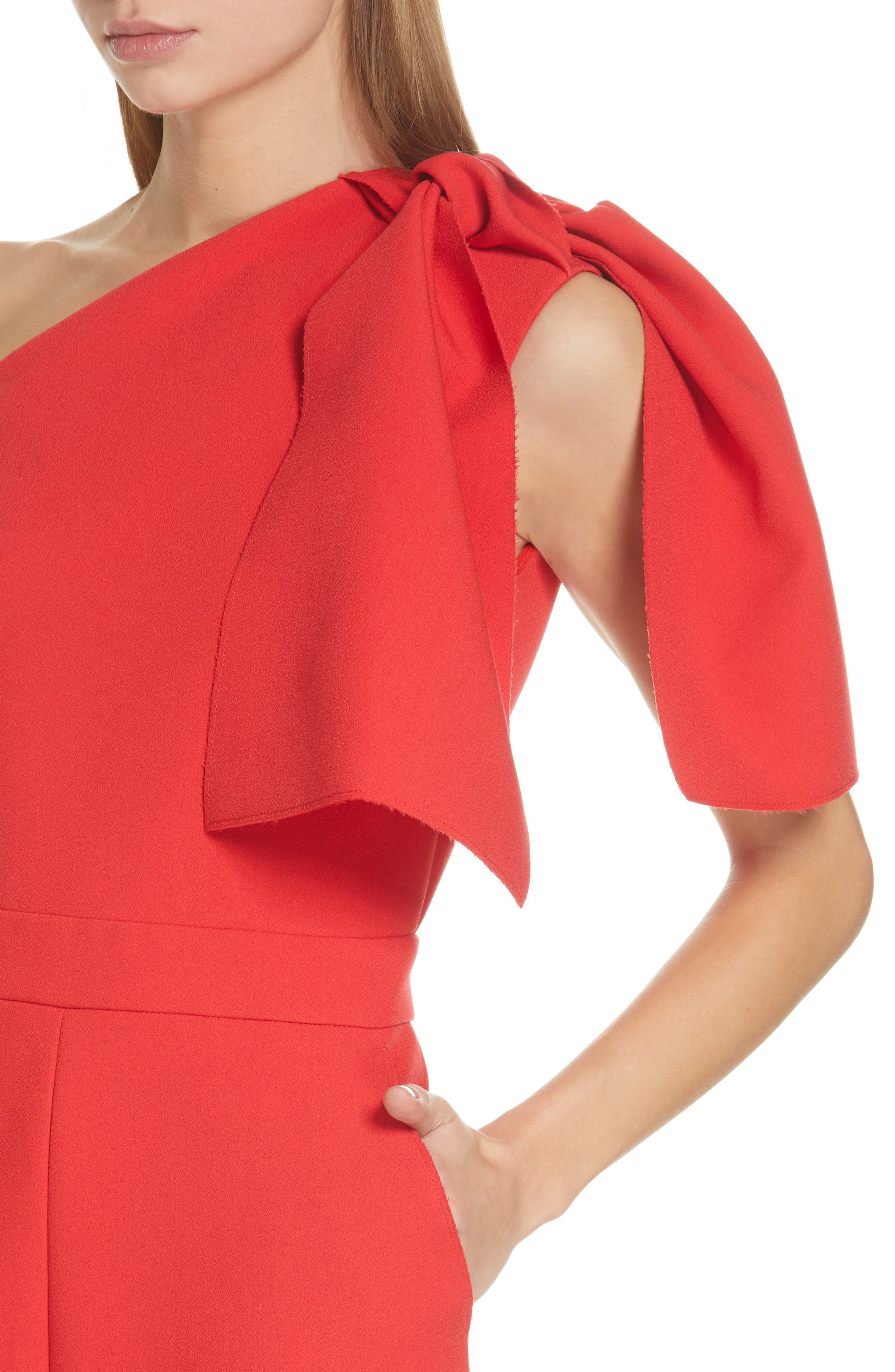 ,                             Bow One-Shoulder Jumpsuit,                             Alternate thumbnail 4, color,                             RED
