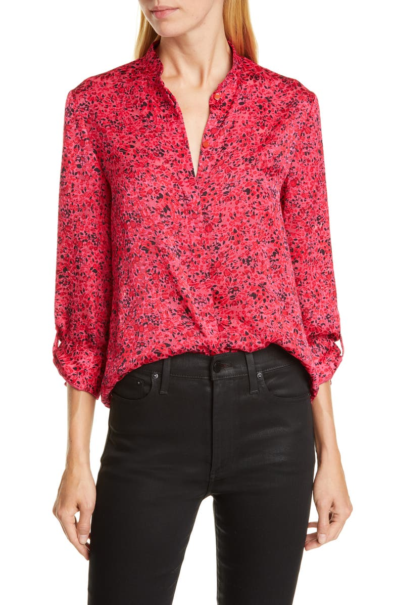 ALICE + OLIVIA Eloise Floral Top, Main, color, BRIGHT PINK MULTI