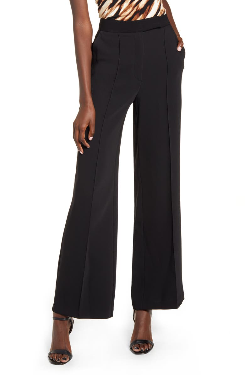TOPSHOP Pintuck Pleat Wide Leg Trousers, Main, color, BLACK