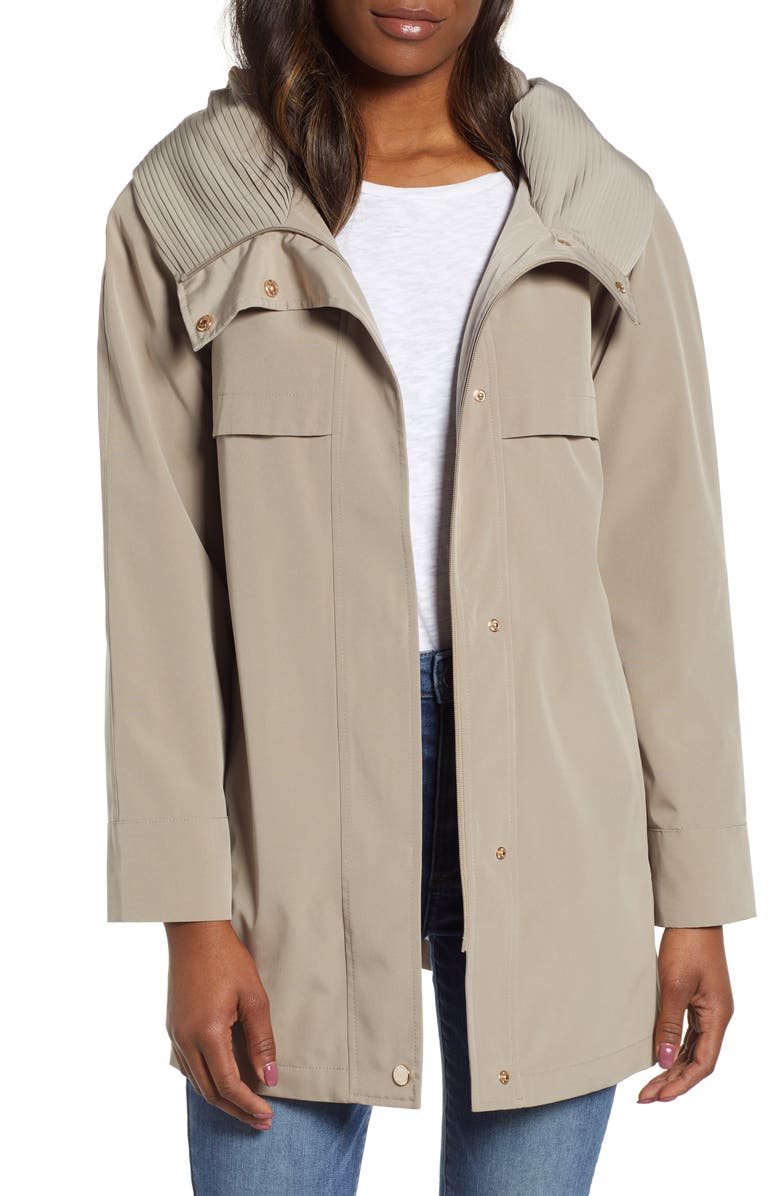 GALLERY Pleated Collar A-Line Water Repellent Raincoat, Main, color, MUSHROOM