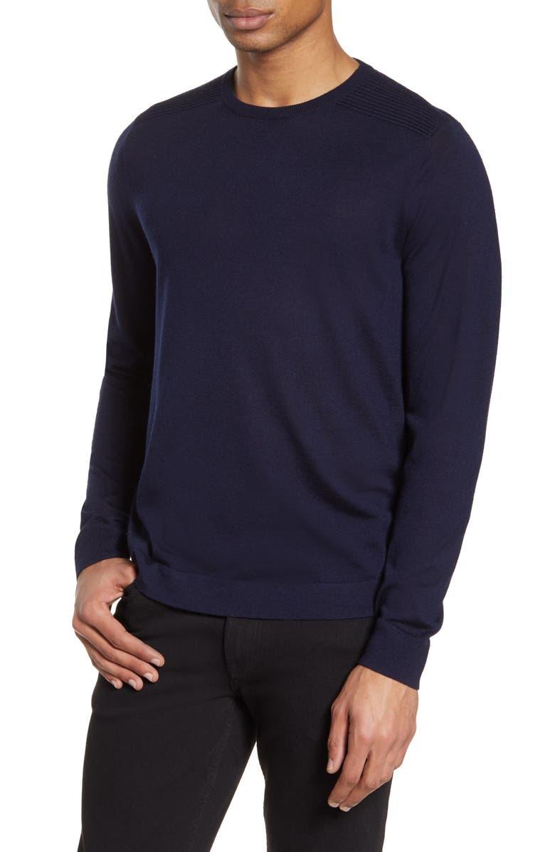 NORDSTROM SIGNATURE Merino Wool Blend Crewneck Sweater, Main, color, 401