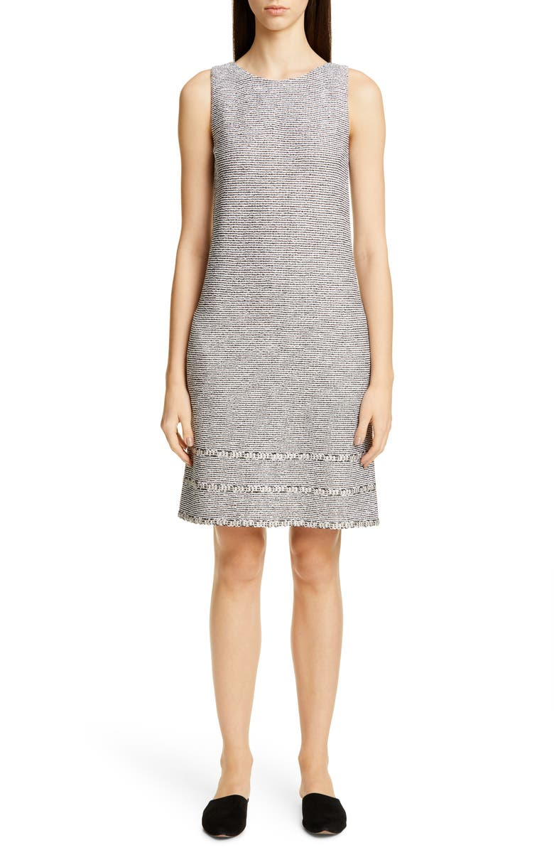 ST. JOHN COLLECTION Luxury Crepe Tweed Knit Dress, Main, color, CAVIAR/ WHITE/ KHAKI MULTI