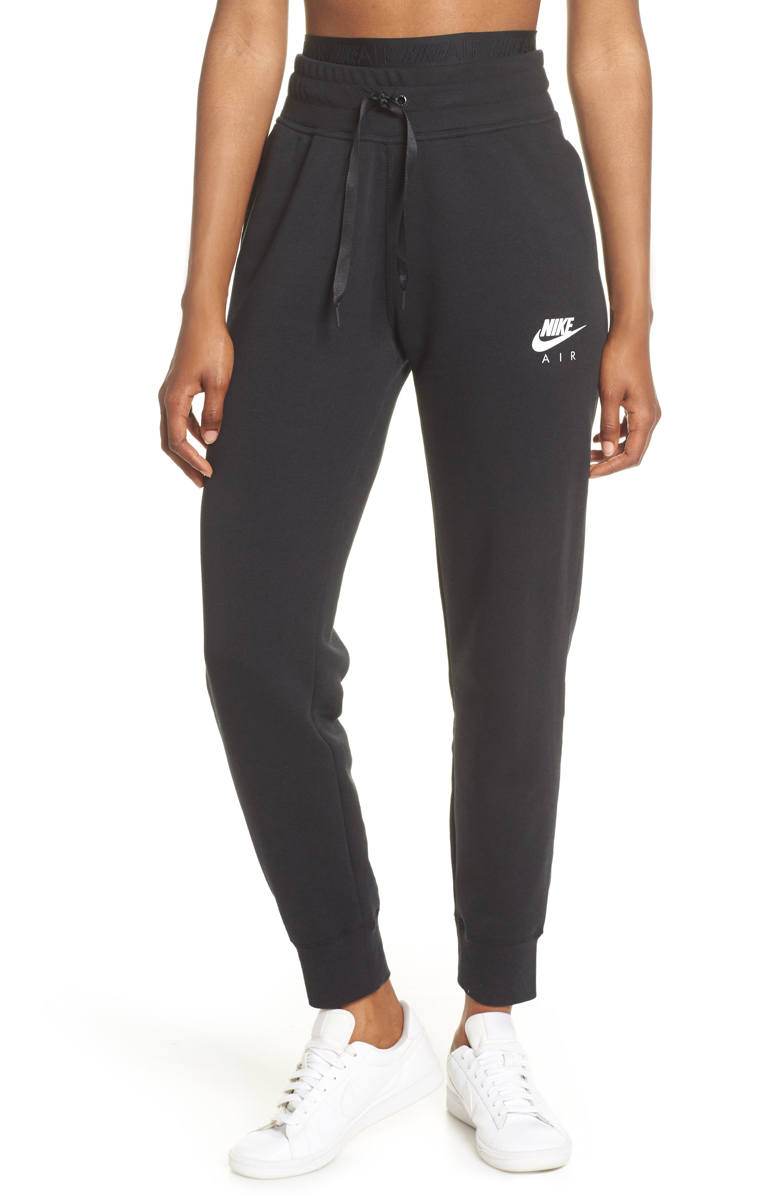 ,                             Sportswear Air Fleece Jogger Pants,                             Main thumbnail 1, color,                             BLACK/ WHITE