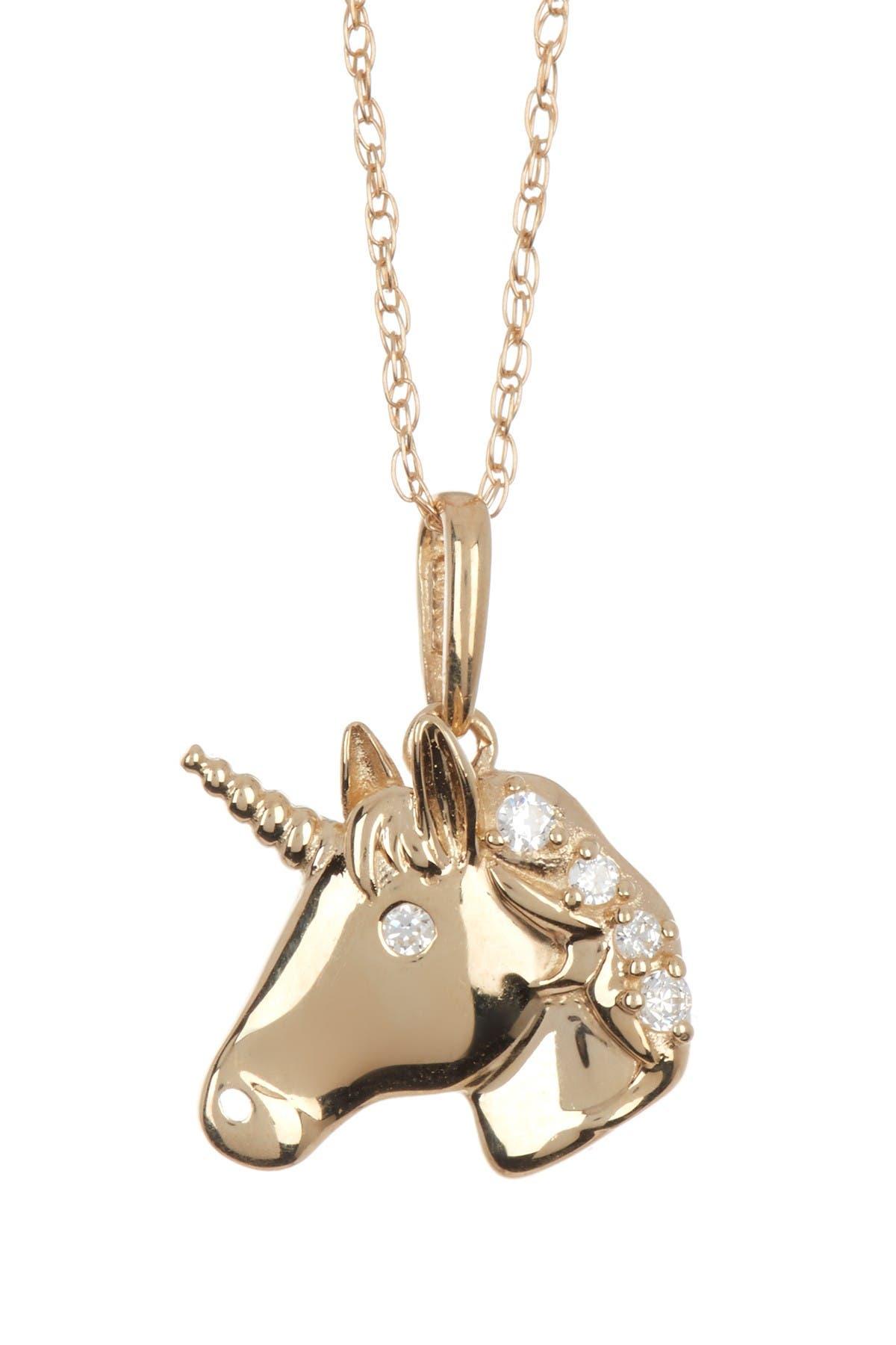 Image of Candela 10K Yellow Gold CZ Unicorn Necklace