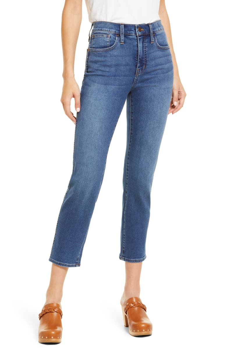 MADEWELL High-Rise Slim Straight Jeans, Main, color, GLYNN WASH