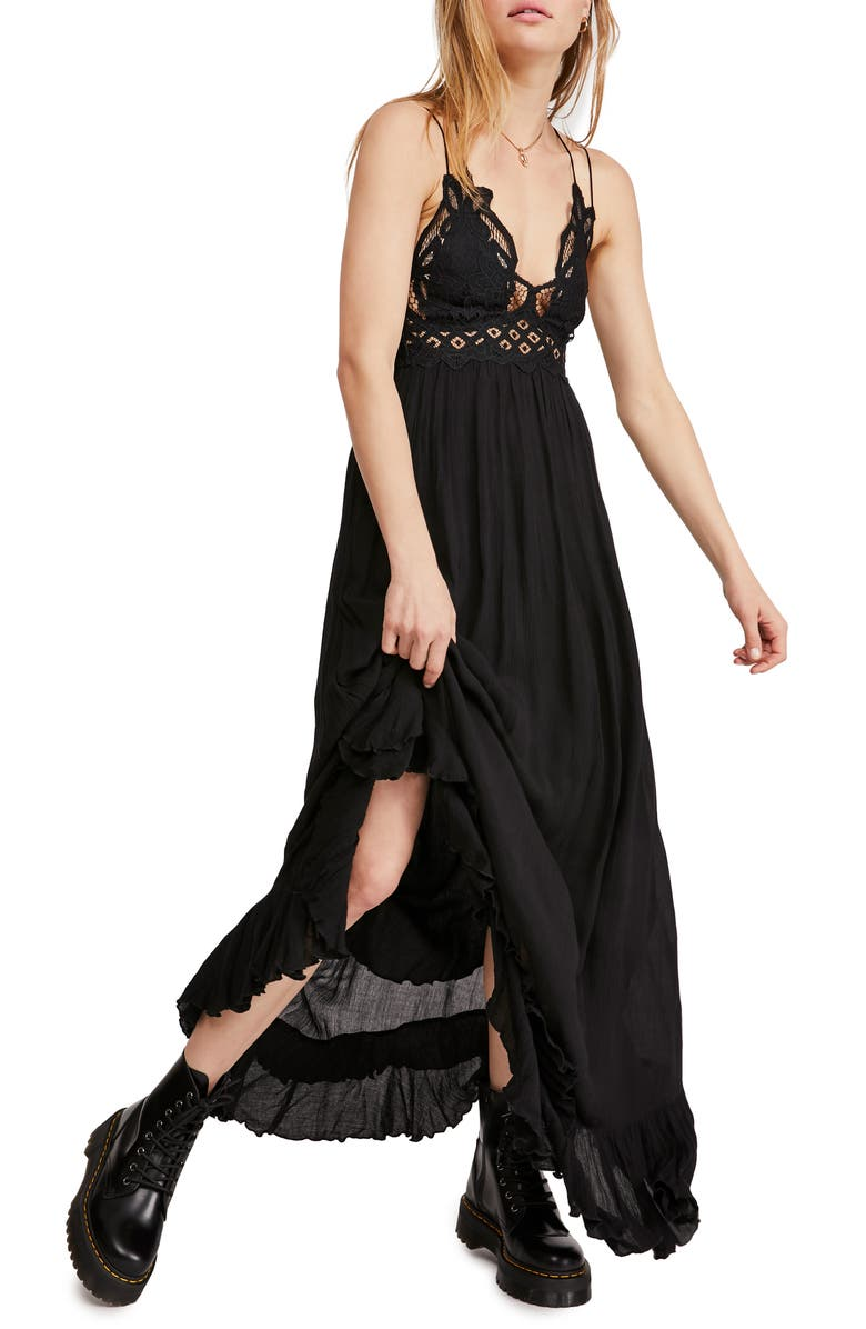 FREE PEOPLE Adella Maxi Slipdress, Main, color, BLACK