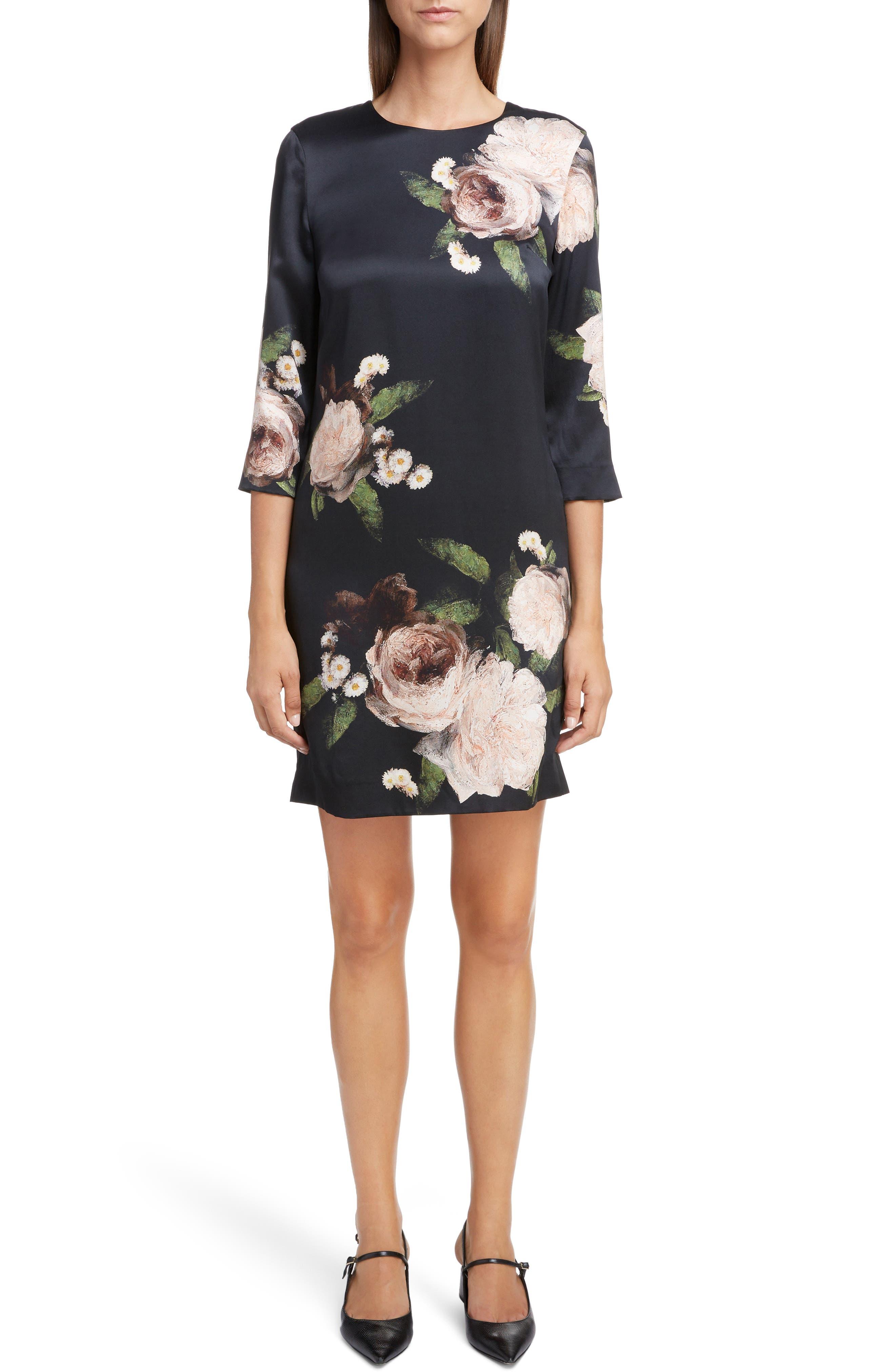 Erdem Floral Silk Satin Shift Dress
