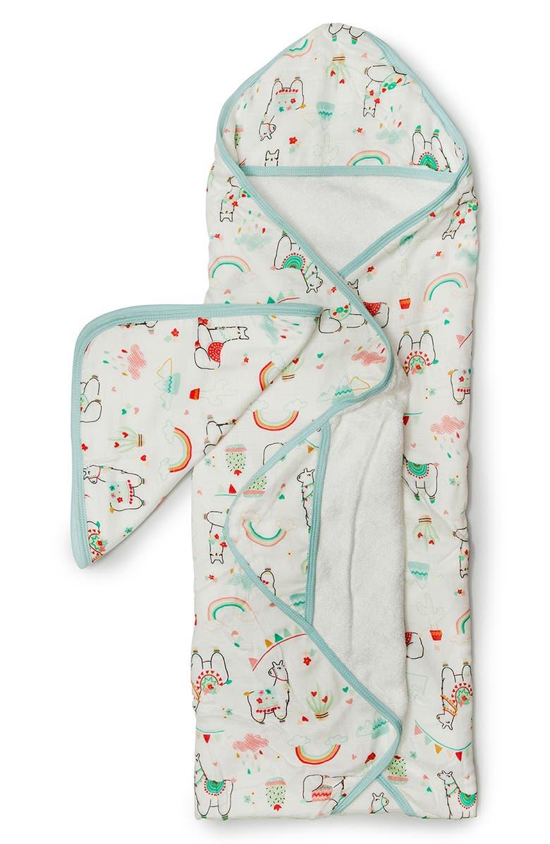 LOULOU LOLLIPOP Muslin Hooded Towel & Washcloth Set, Main, color, LLAMA