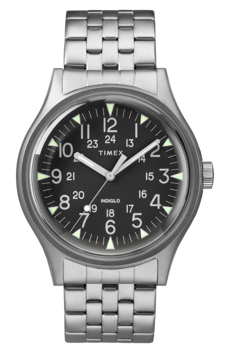 TIMEX<SUP>®</SUP> MK1 Bracelet Watch, 40mm, Main, color, SILVER/ BLACK/ SILVER