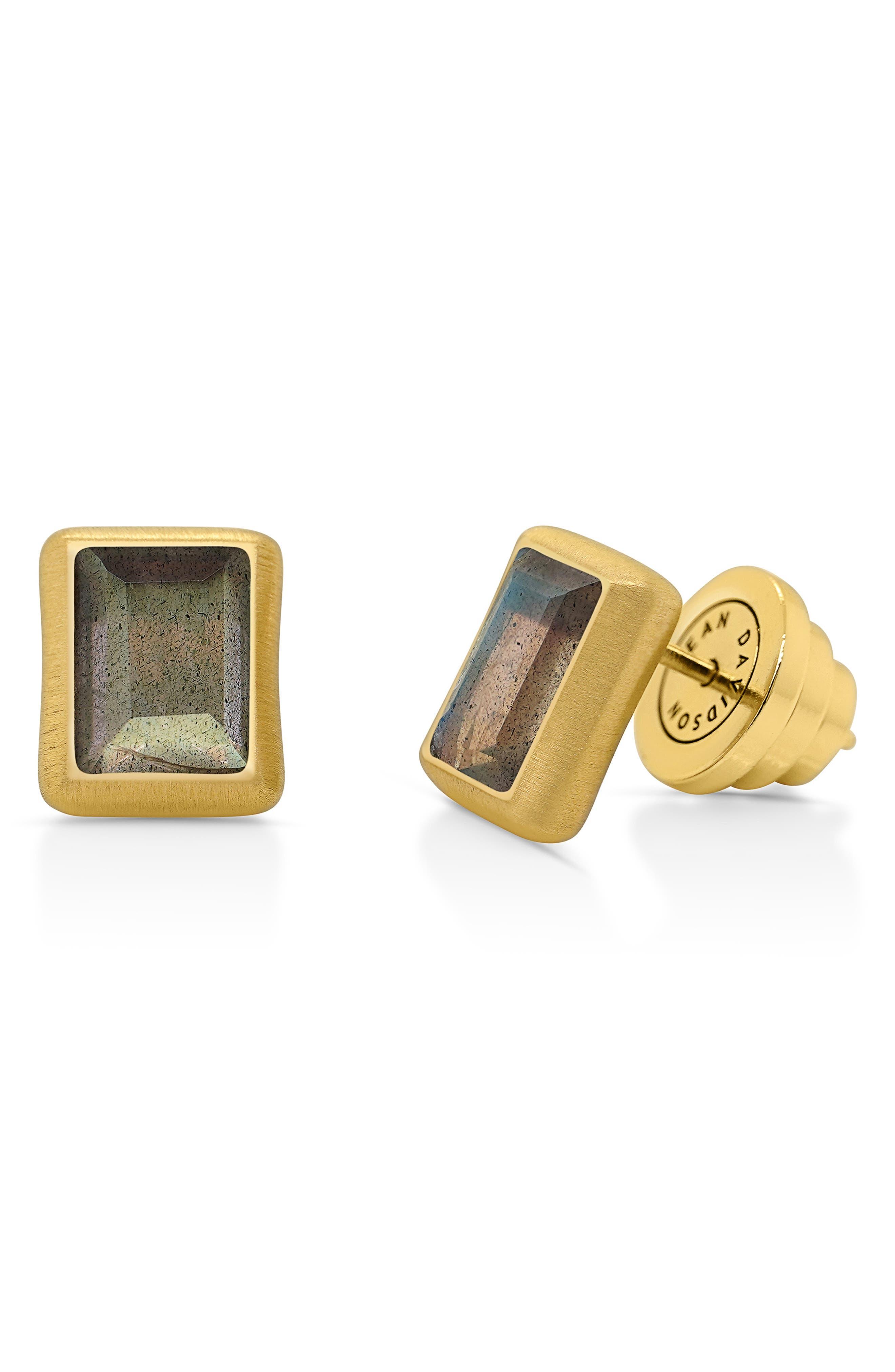 Baguette Stone Stud Earrings