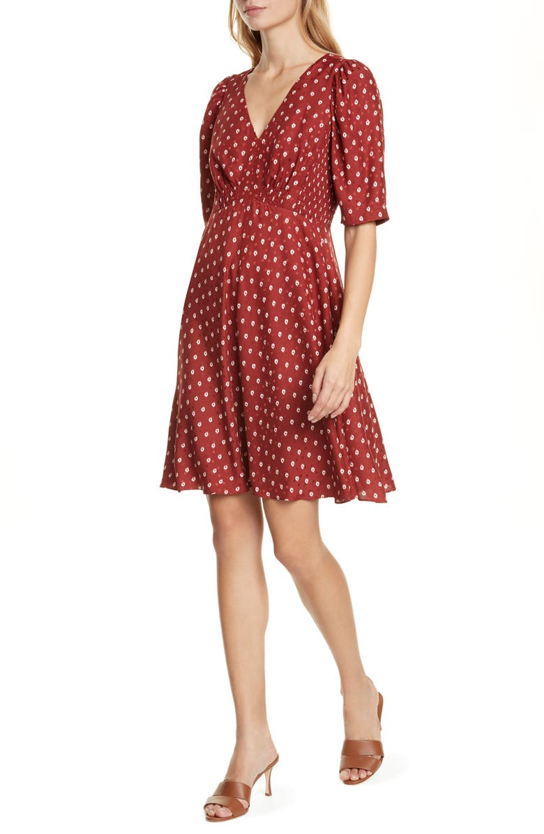 REBECCA TAYLOR Sunrise Dot Silk Blend Dress, Main, color, CABERNET COMBO