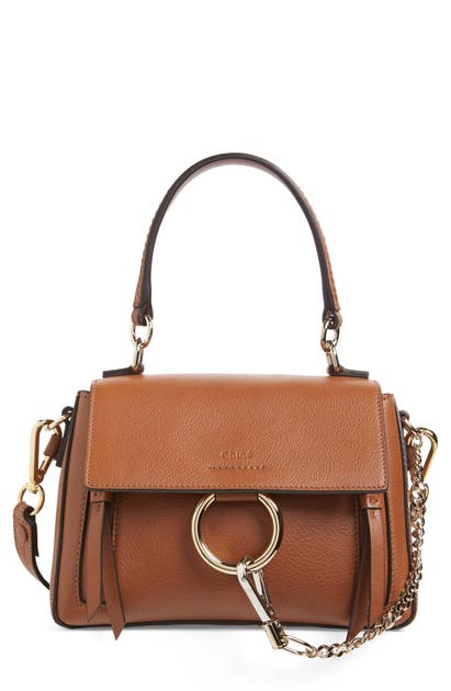 Chloé Crossbody MINI FAYE DAY LEATHER CROSSBODY BAG - BROWN