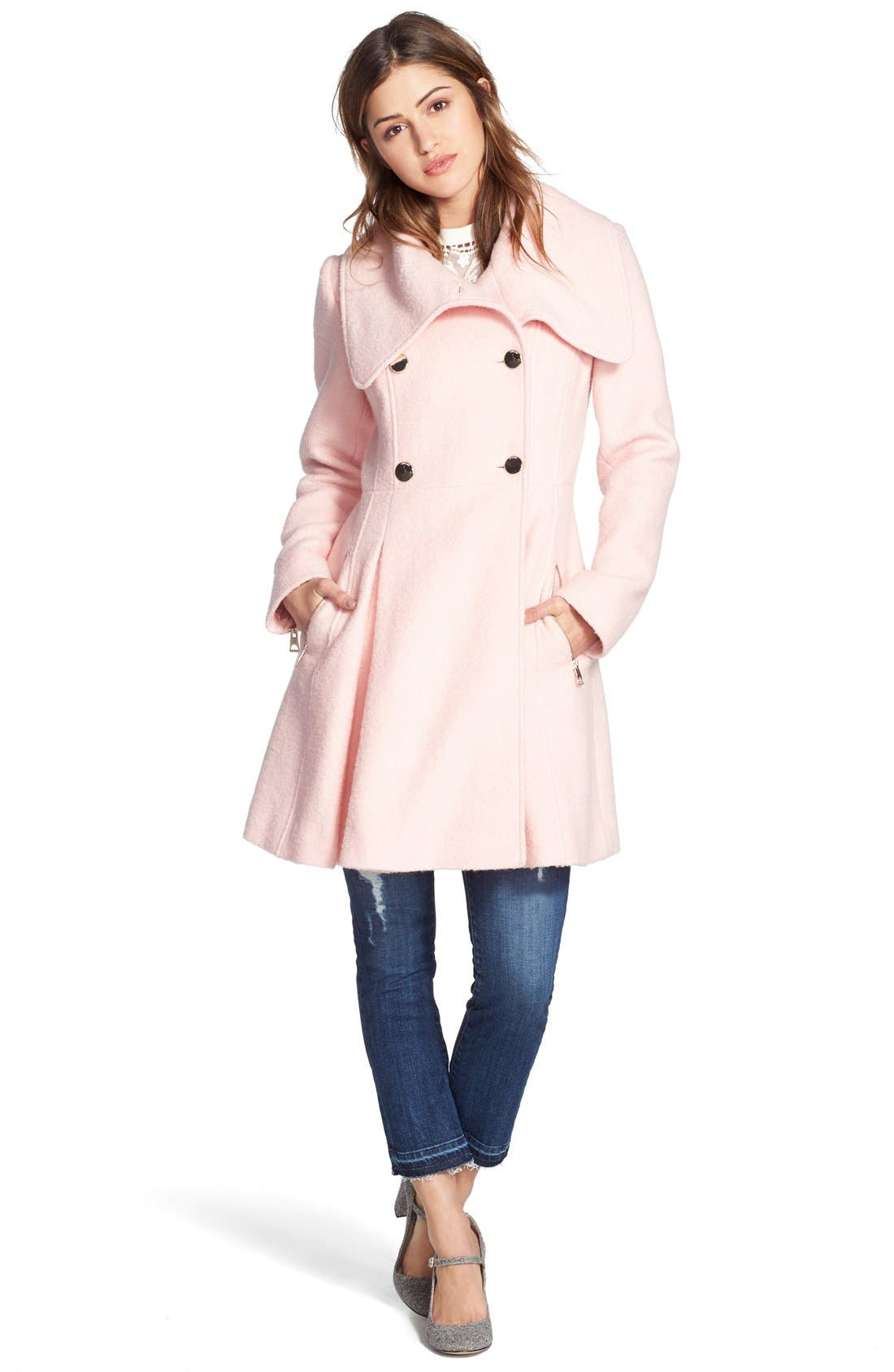,                             Envelope Collar Double Breasted Coat,                             Alternate thumbnail 24, color,                             666