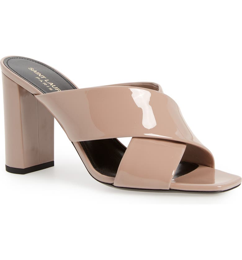 SAINT LAURENT Loulou Slide Sandal, Main, color, NUDE ROSE PATENT