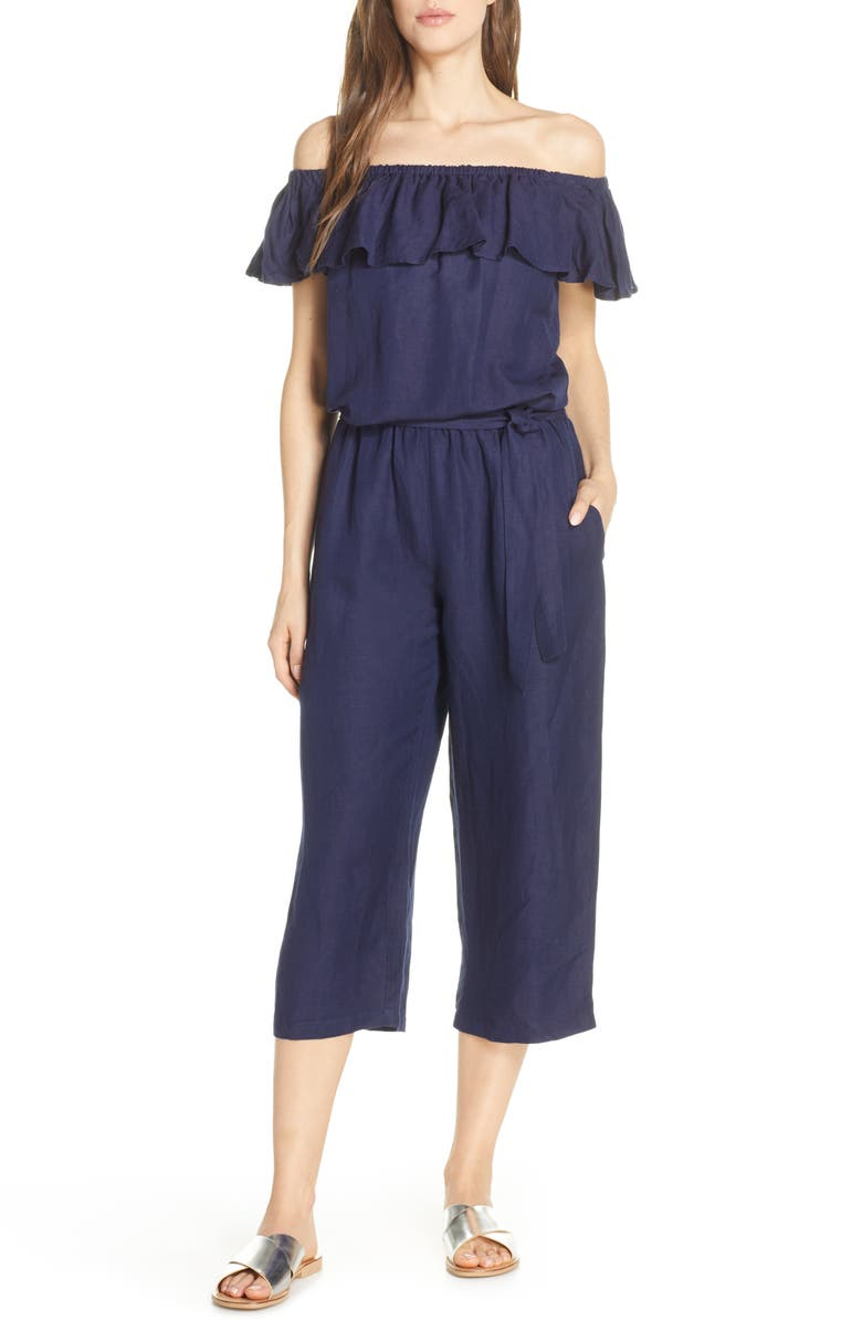 TOMMY BAHAMA Off the Shoulder Cover-Up Jumpsuit, Main, color, 400
