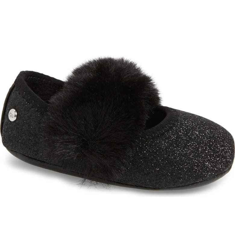 UGG<SUP>®</SUP> Fluff Glitter Ballet Flat, Main, color, 001
