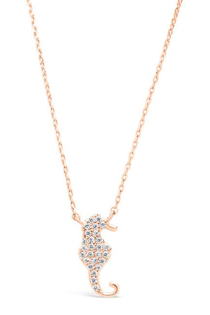 Image of Sterling Forever 14K Rose Gold Plated Brass CZ Seahorse Pendant Necklace