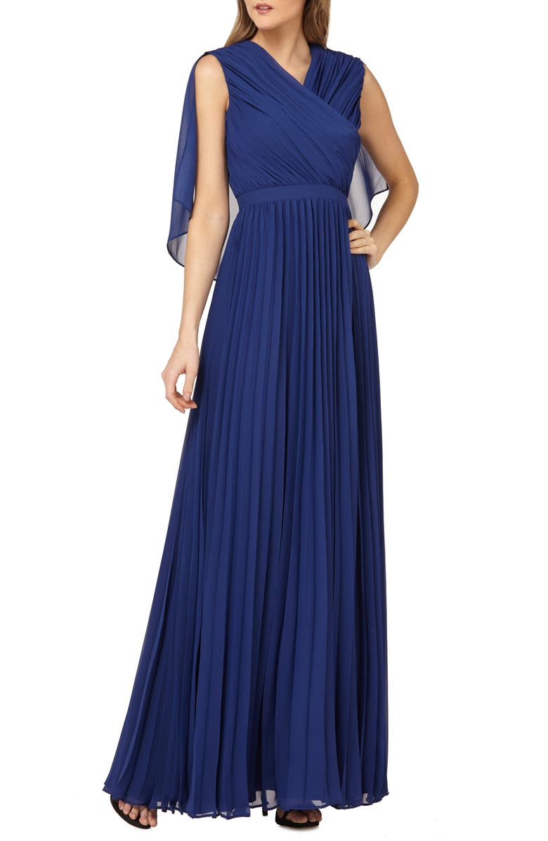 KAY UNGER Capelet Sleeves Pleated Evening Dress, Main, color, NAVY