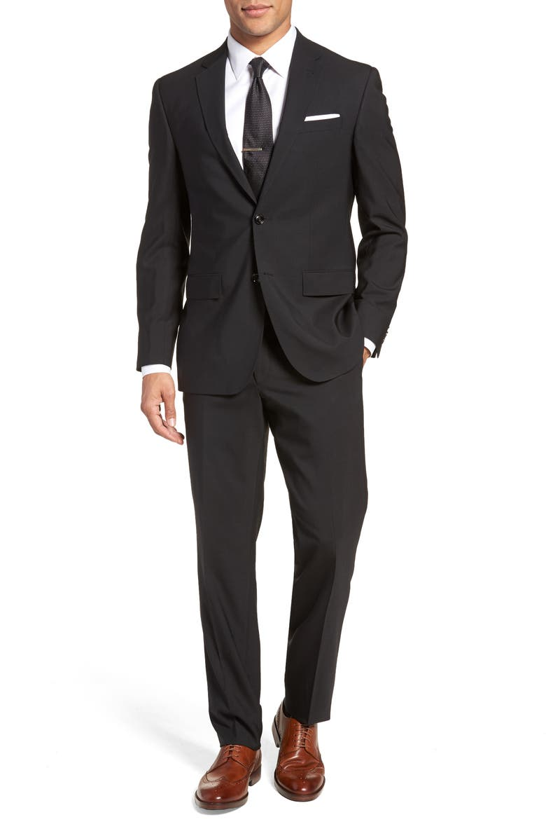 TED BAKER LONDON Jay Trim Fit Solid Wool Suit, Main, color, BLACK