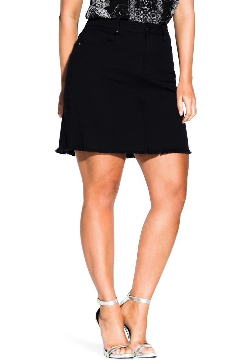 CITY CHIC Frayed High Waist Denim Skirt, Main, color, 001