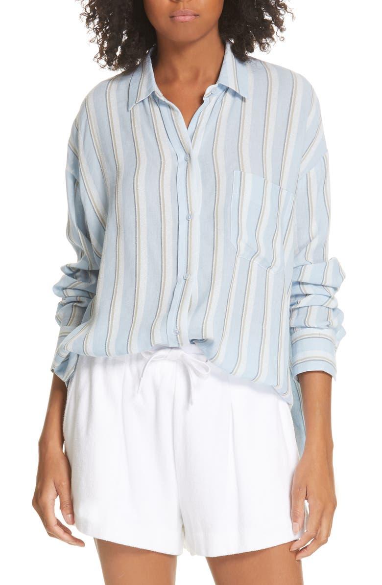 VINCE Textured Stripe Button Up Blouse, Main, color, SURF MIST