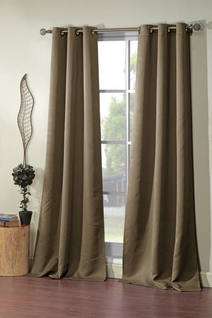 Image of Duck River Textile Steyna Solid Blackout Curtain Set - Taupe