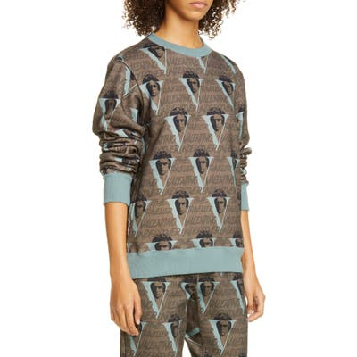 Undercover X Valentino Beethoven V-Print Sweatshirt, (fits like 6-8 US) - Brown