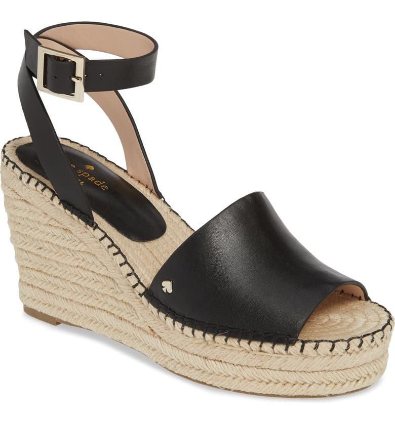 KATE SPADE NEW YORK felipa wedge sandal, Main, color, BLACK