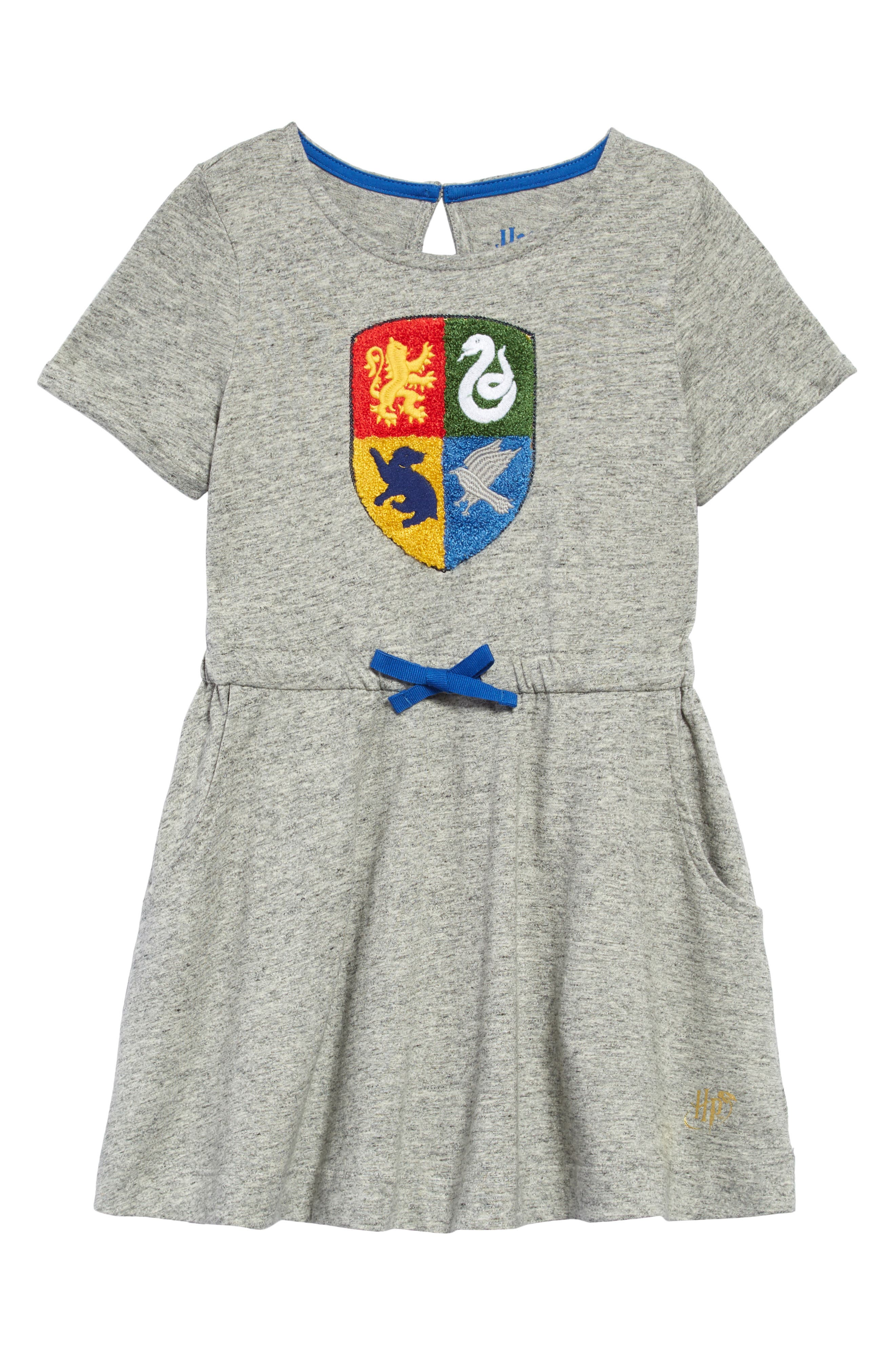 Your future wizard won\\\'t have to choose which house to belong in with this fun crested dress cut from pure cotton jersey that\\\'s perfect for lounging or play. Style Name: Mini Boden X Harry Potter Hogwarts Crest Dress. Style Number: 6050504. Available in stores.