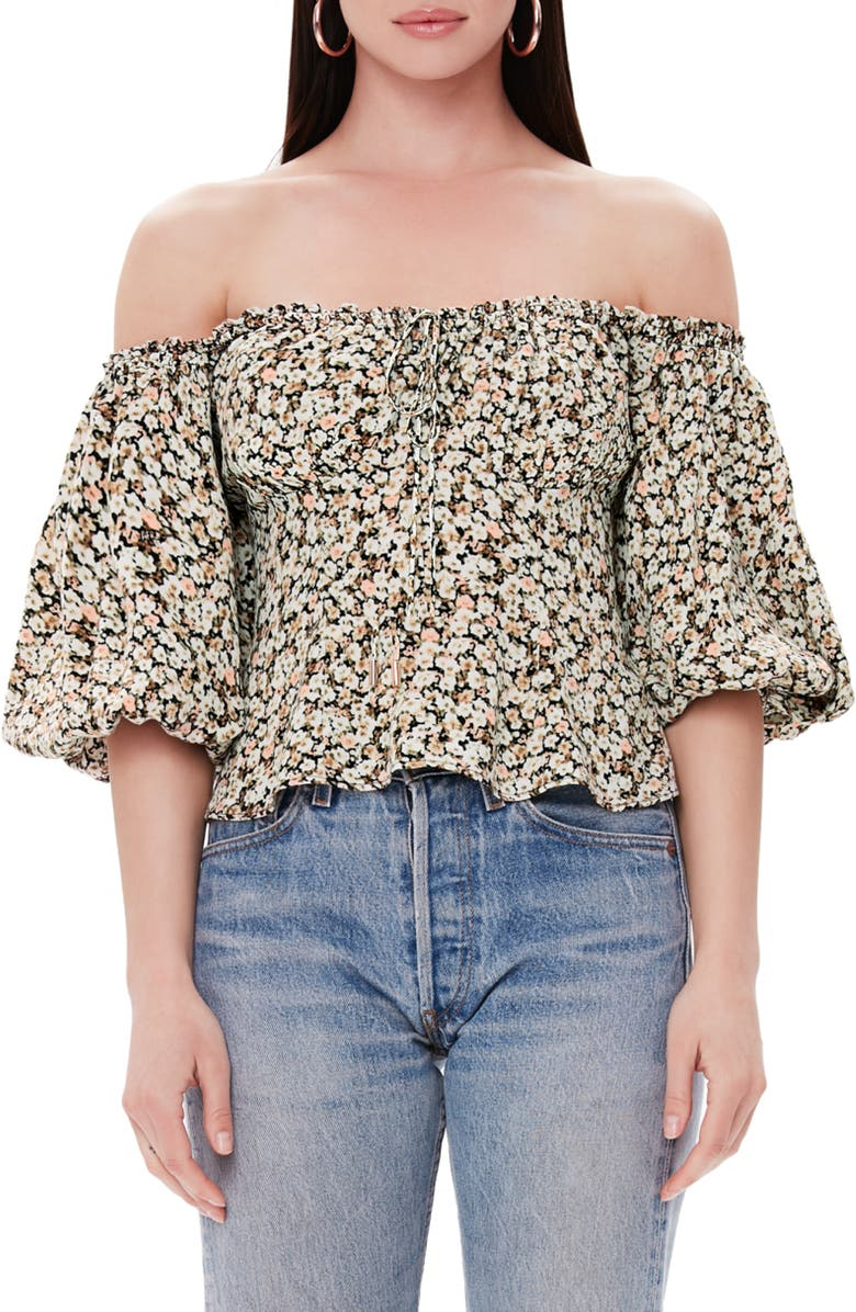 AFRM Bowie Off the Shoulder Top, Main, color, 001
