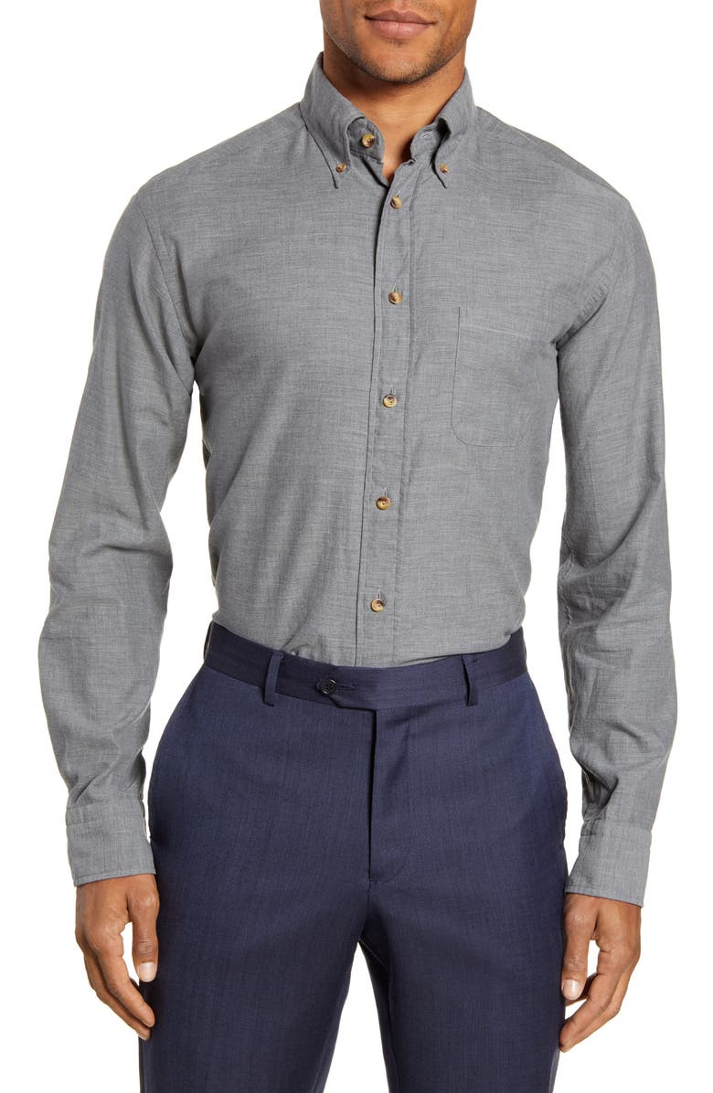 ETON Flanella Slim Fit Solid Dress Shirt, Main, color, GREY