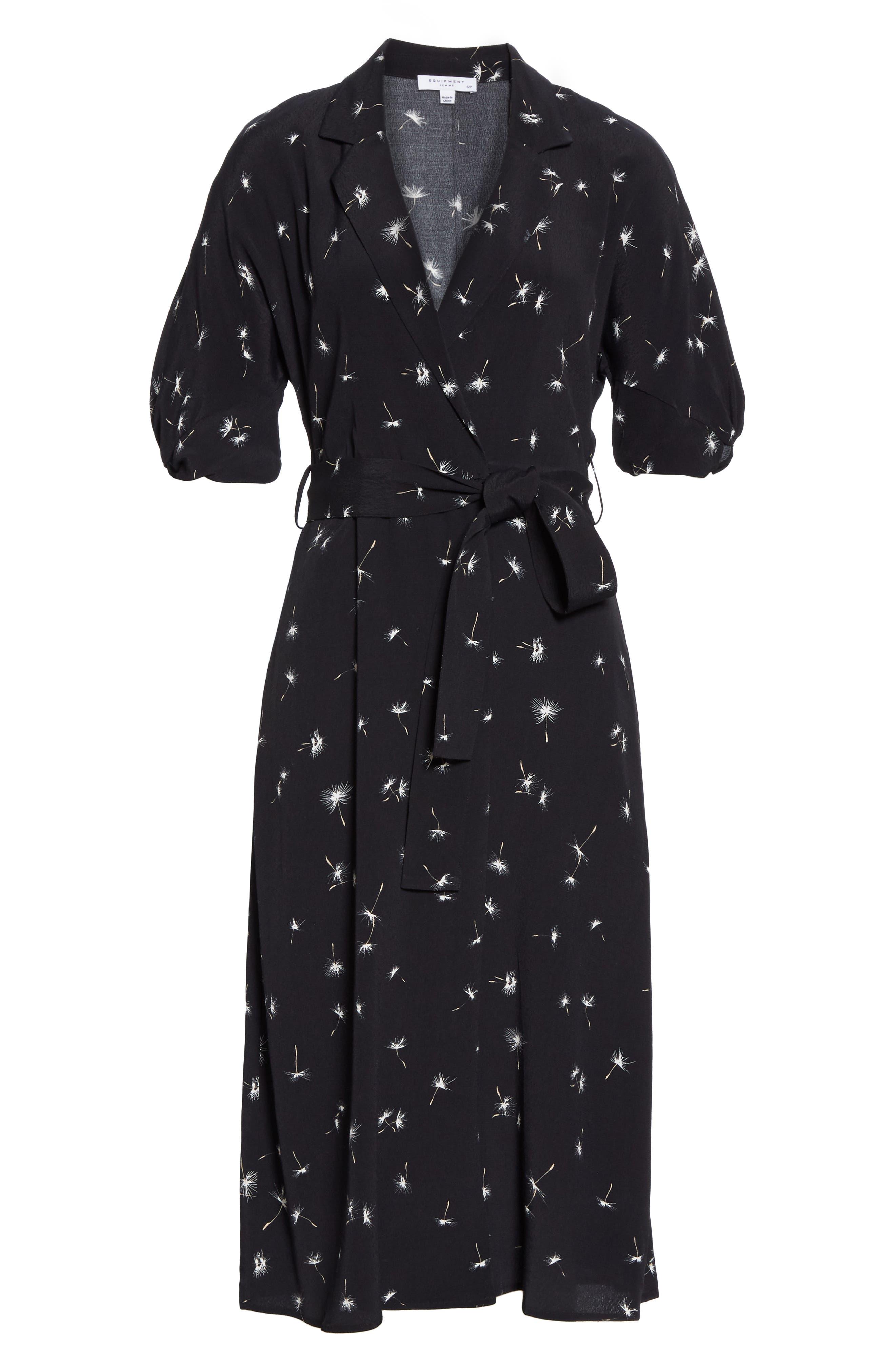 ,                             Anitone Faux Wrap Dress,                             Alternate thumbnail 8, color,                             TRUE BLACK MULTI