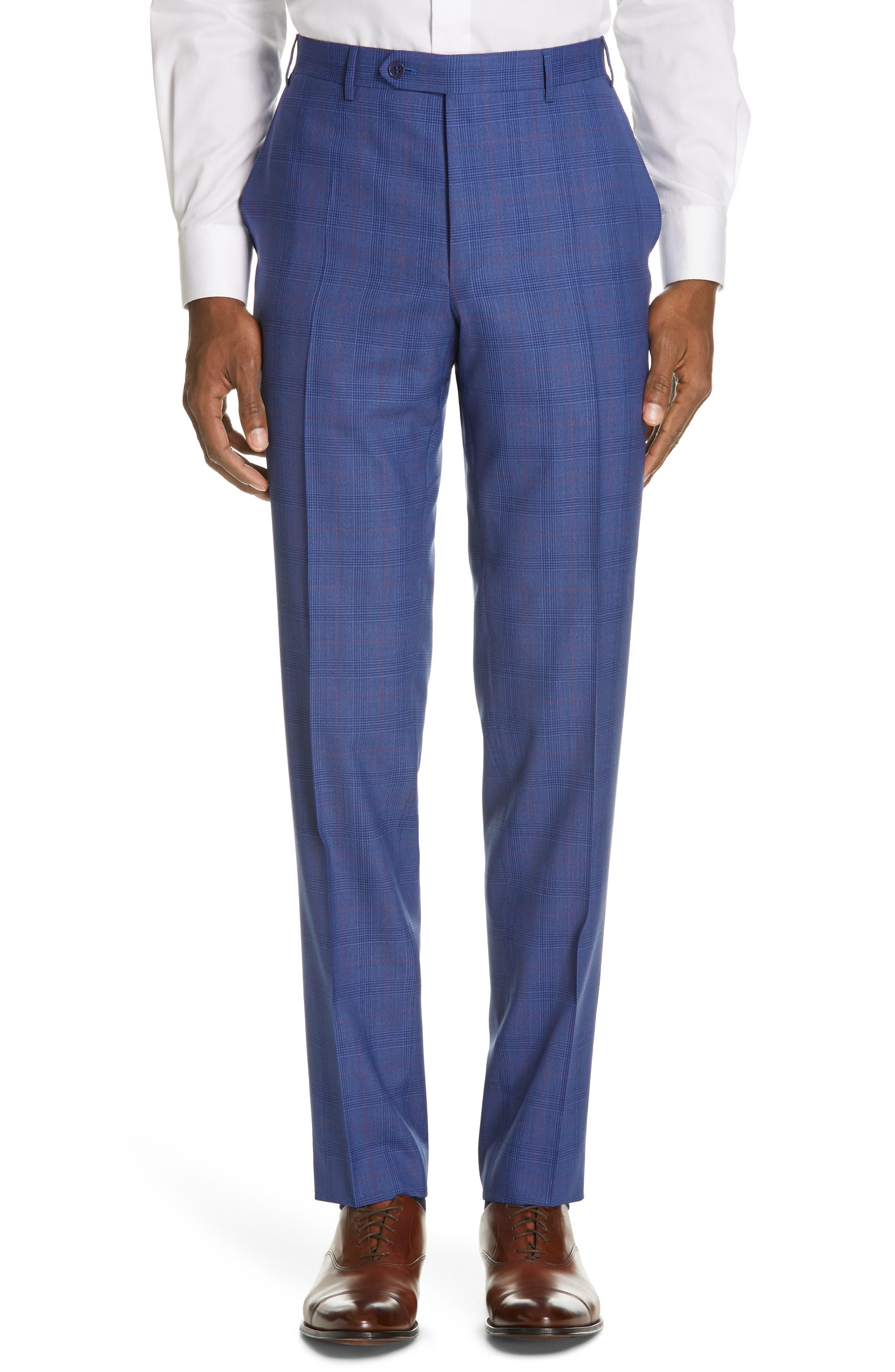 ,                             Siena Classic Fit Deco Plaid Super 130s Wool Suit,                             Alternate thumbnail 6, color,                             BLUE