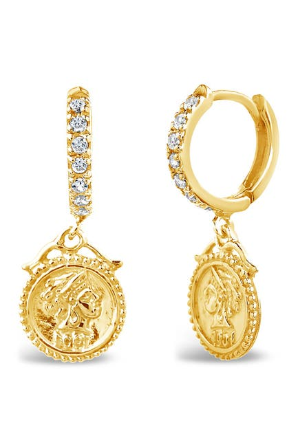Image of Sterling Forever 14K Yellow Gold Vermeil CZ Crown Jewel 12mm Micro Hoop Earrings