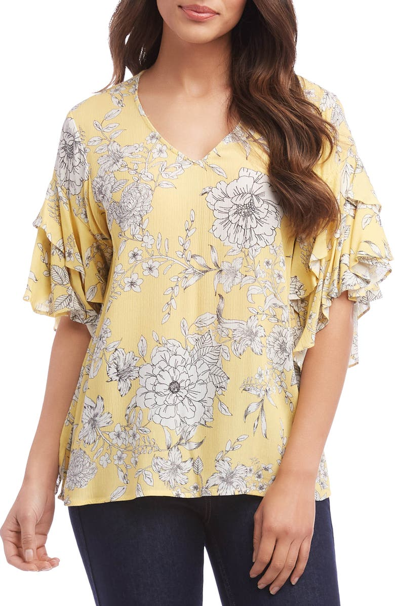 KAREN KANE Ruffle Sleeve Top, Main, color, PRINT
