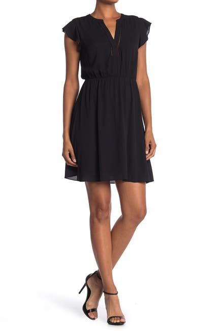 Image of Collective Concepts Ruffle Sleeve Split Neck Mini Dress