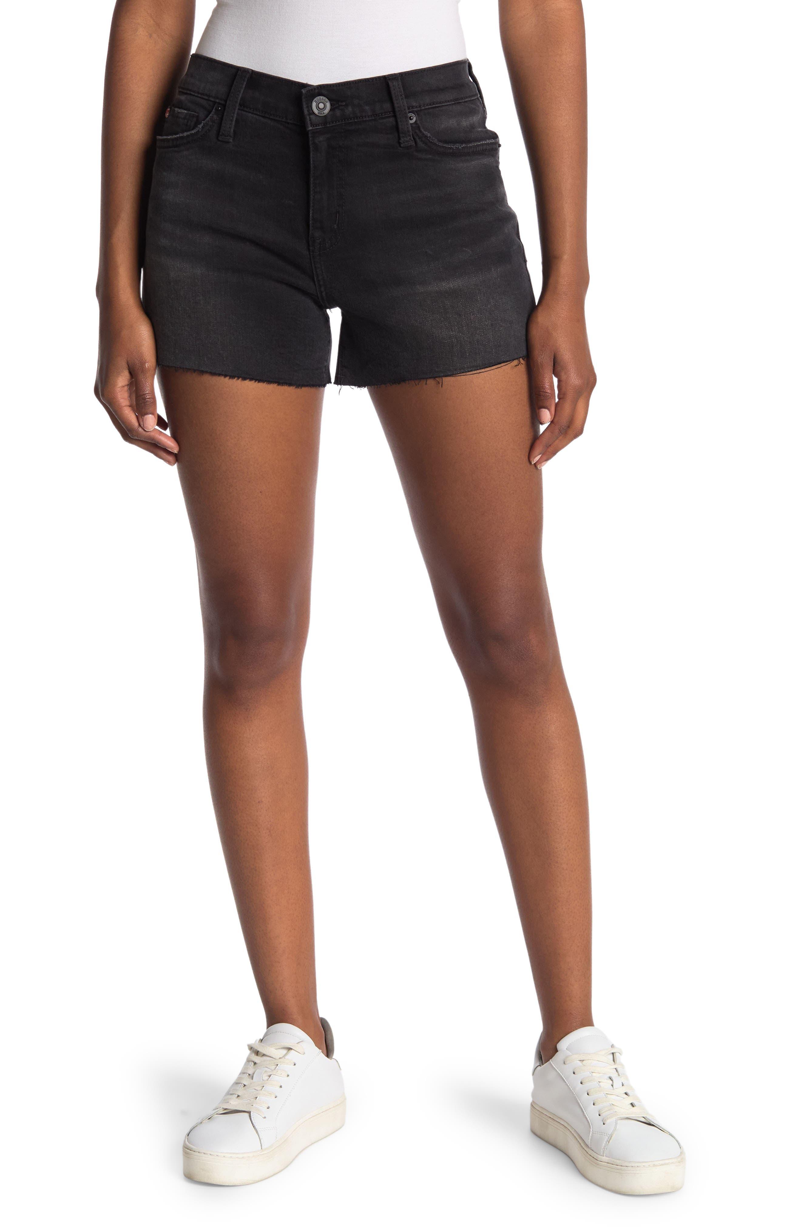 Image of HUDSON Jeans Gracie Mid Rise Raw Hem Denim Shorts