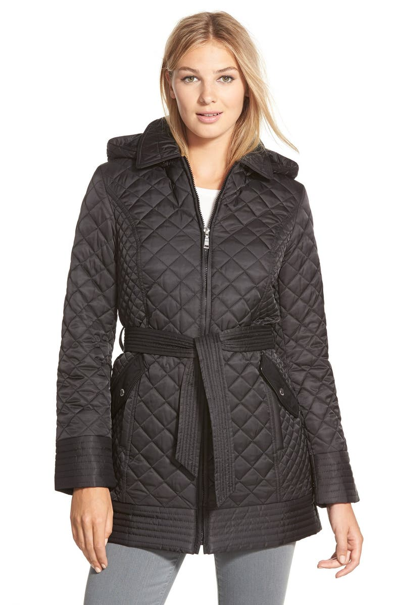LAUNDRY BY DESIGN Belted Hooded Quilted Coat, Main, color, 001