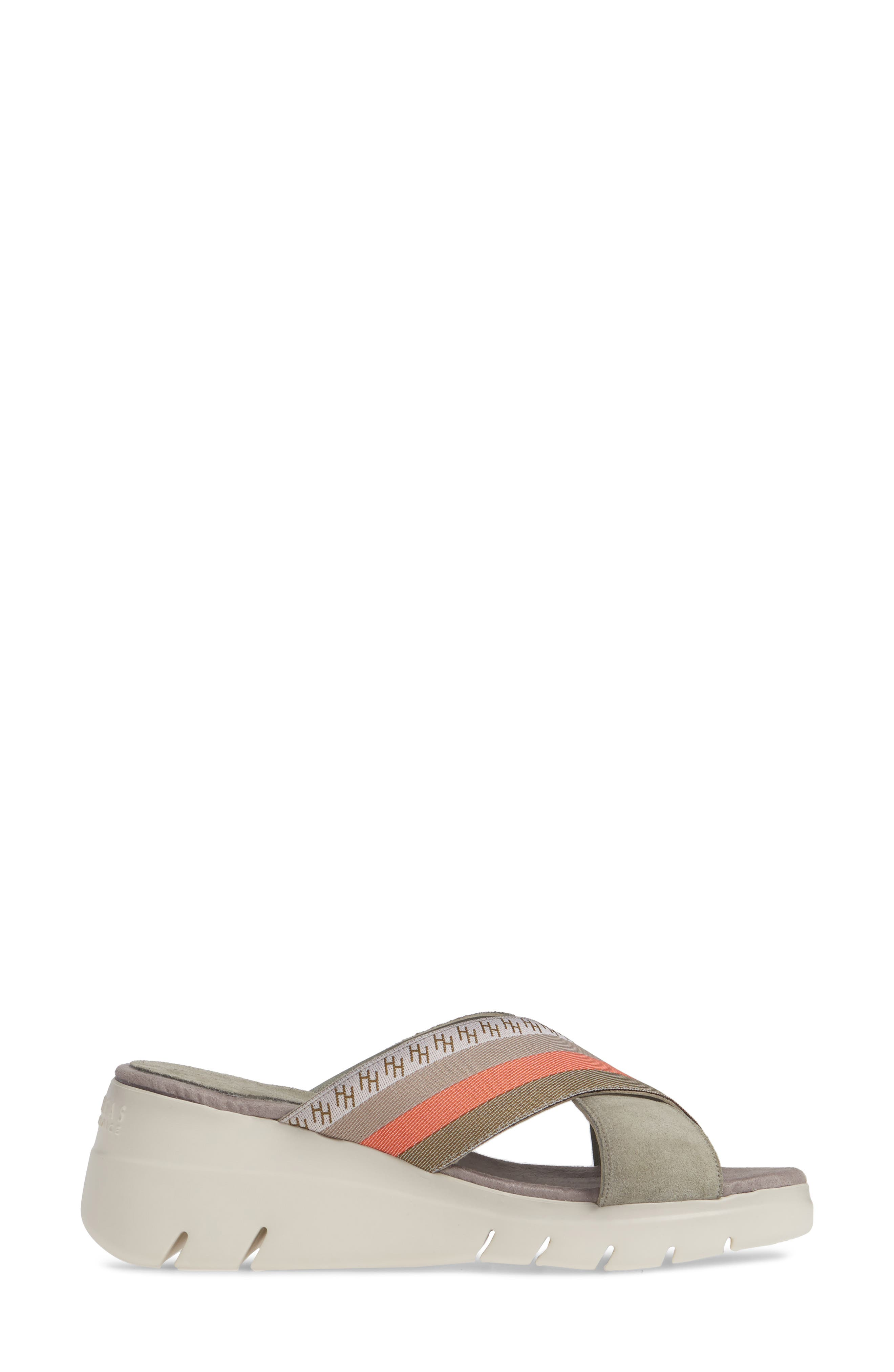 ,                             Magna Wedge Slide Sandal,                             Alternate thumbnail 3, color,                             WHITE FABRIC