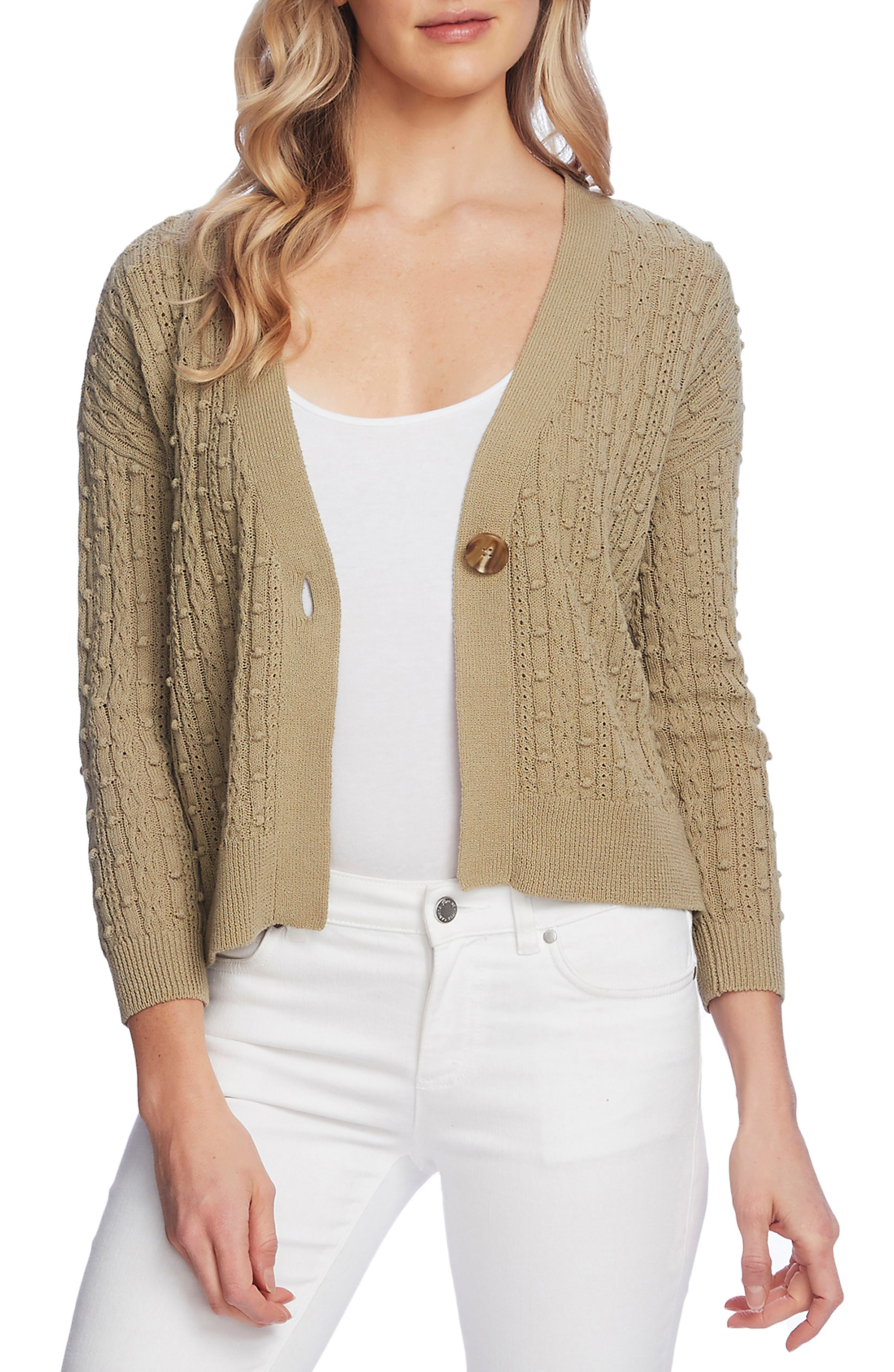 Image of Vince Camuto Cable Popcorn Stitch Cardigan