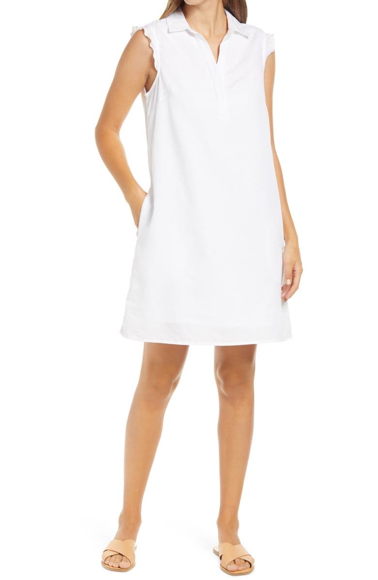 BEACHLUNCHLOUNGE Leandrina Polo Collar Linen & Cotton Shift Dress, Main, color, WHITE