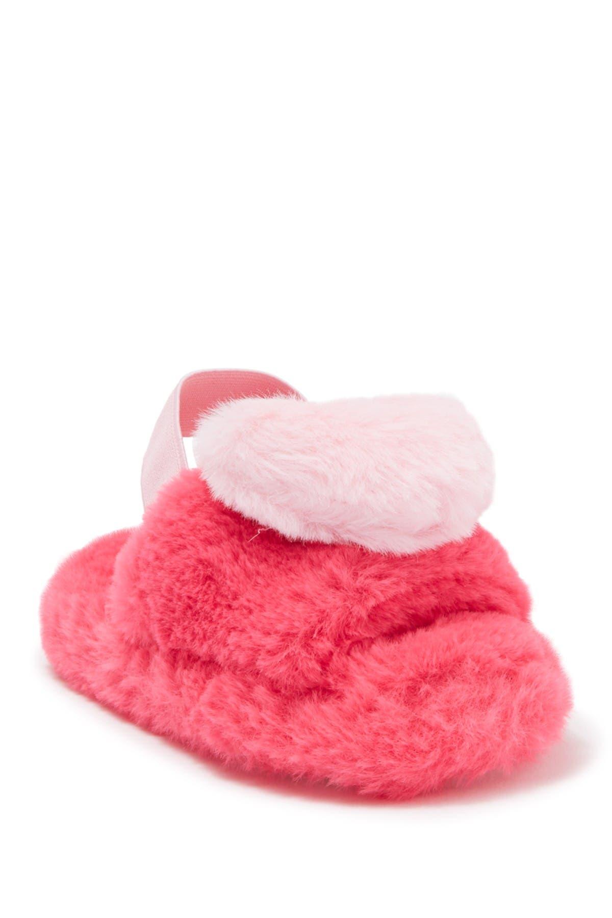 Image of Kensie Girl Heart Slingback Faux Fur Slide Slipper