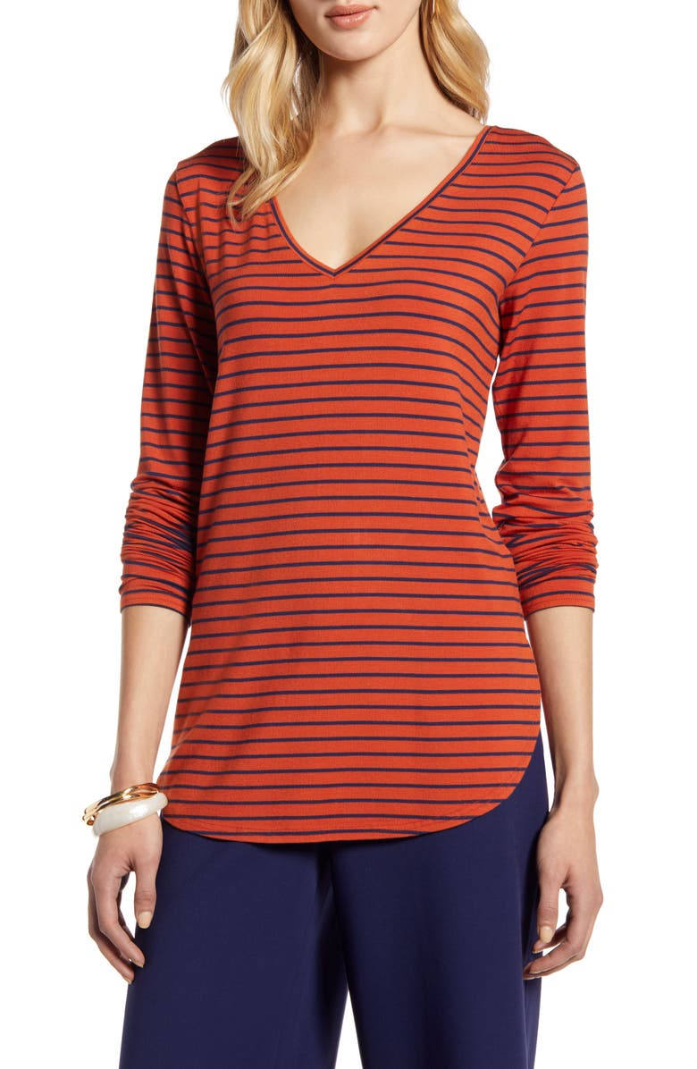 HALOGEN<SUP>®</SUP> V-Neck Tunic, Main, color, RUST- NAVY STRIPE