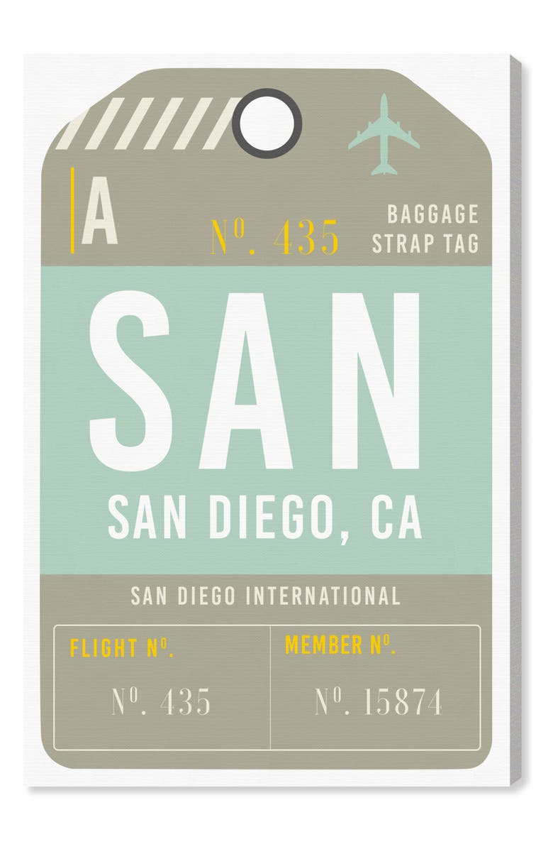 OLIVER GAL San Diego Luggage Tag Wall Art, Main, color, GREEN