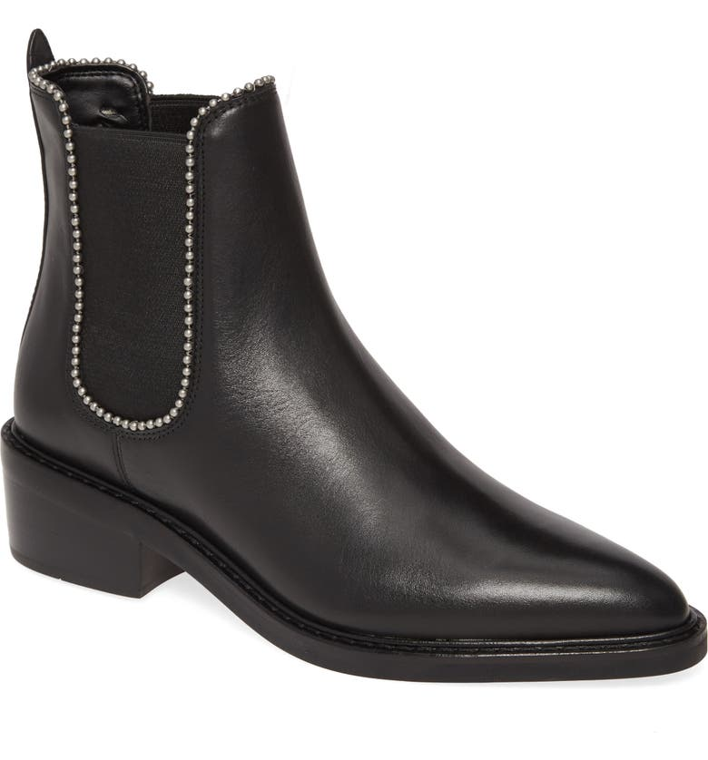 COACH Bowery Ball Chain Chelsea Bootie, Main, color, BLACK LEATHER