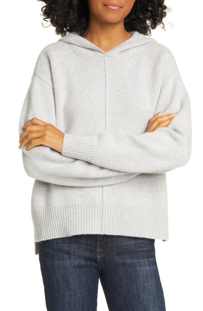 NORDSTROM SIGNATURE Cashmere Hoodie, Main, color, GREY CLAY HEATHER