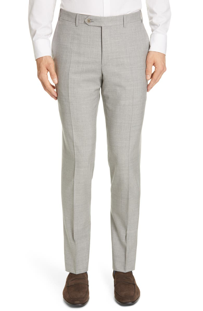CANALI Milano Flat Front Solid Wool Dress Pants, Main, color, 020