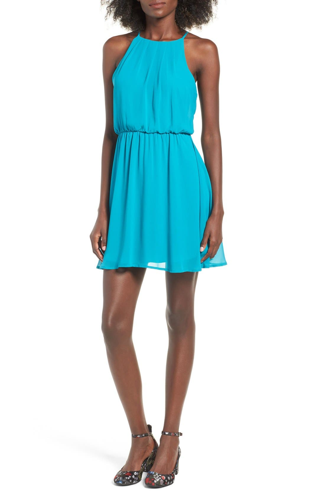 ,                             Blouson Chiffon Skater Dress,                             Main thumbnail 142, color,                             431