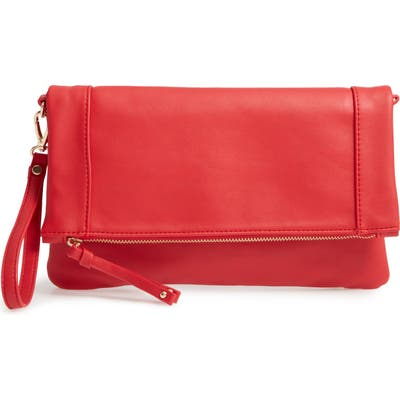 Sole Society Marlena Faux Leather Clutch. crossbody Bag - Red