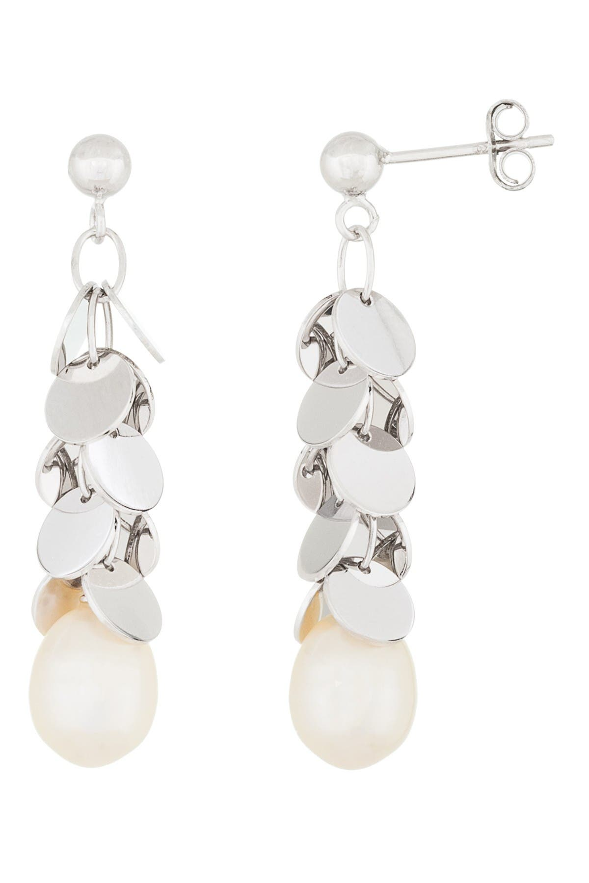 Image of Splendid Pearls Sterling Silver & 7.5-8mm Cultured Freshwater Pearl Dangle Earrings